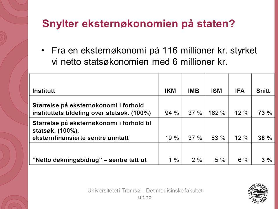 Universitetet i Tromsø – Det medisinske fakultet uit.no Snylter eksternøkonomien på staten? Fra en eksternøkonomi på 116 millioner kr. styrket vi nett