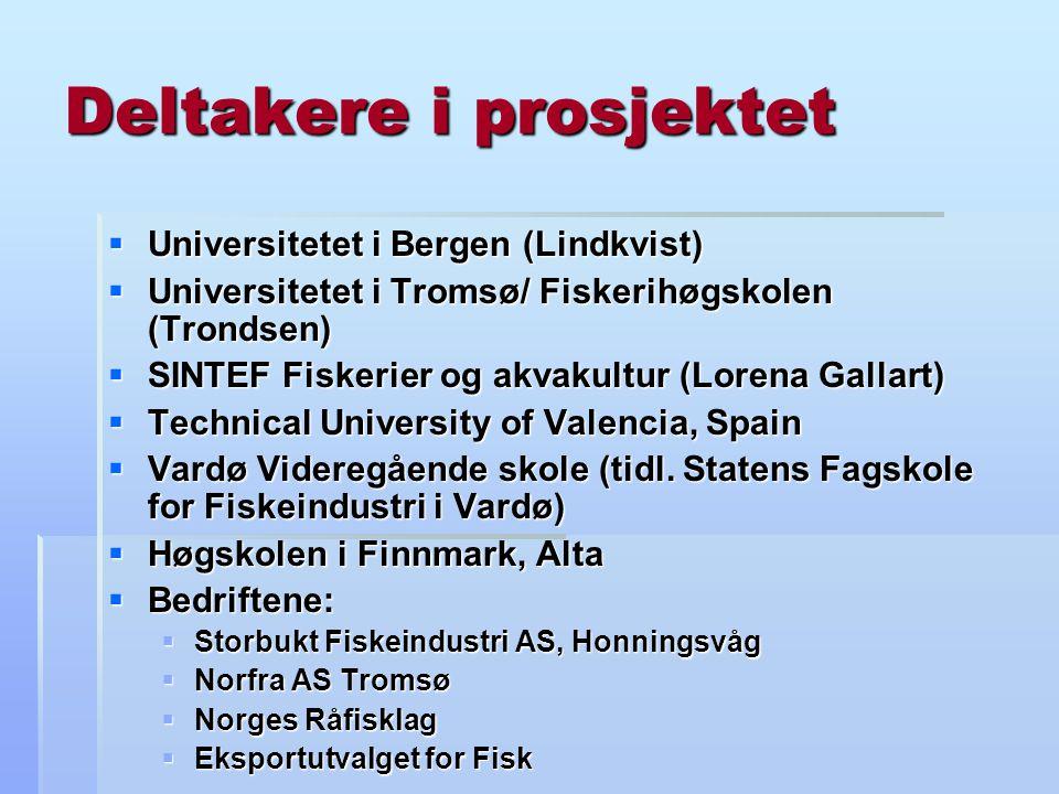 Deltakere i prosjektet  Universitetet i Bergen (Lindkvist)  Universitetet i Tromsø/ Fiskerihøgskolen (Trondsen)  SINTEF Fiskerier og akvakultur (Lorena Gallart)  Technical University of Valencia, Spain  Vardø Videregående skole (tidl.