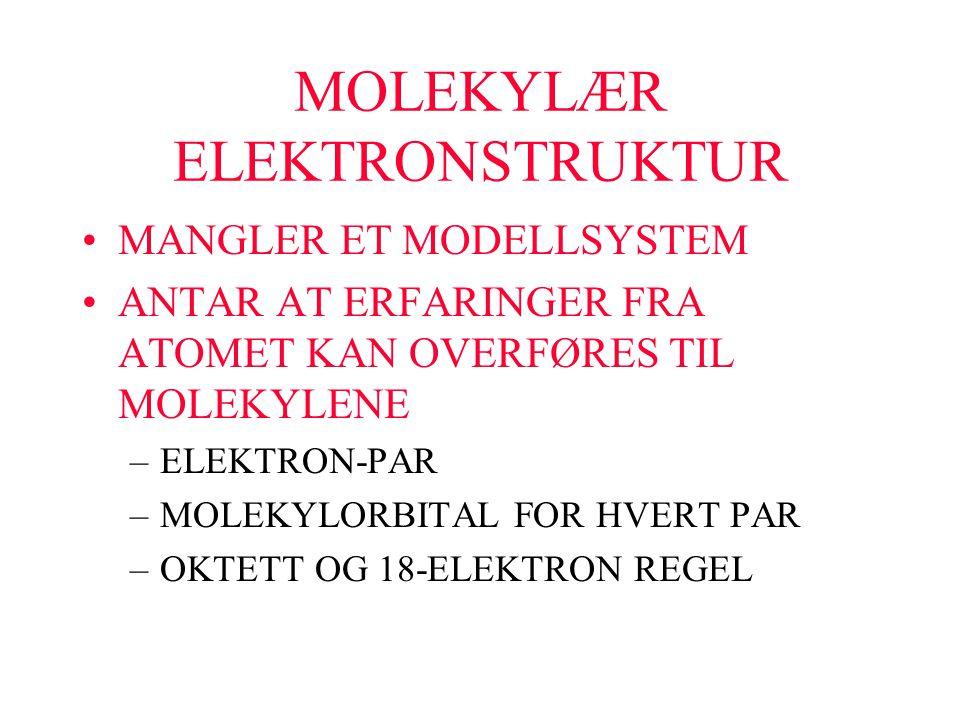 MOLEKYLÆR ELEKTRONSTRUKTUR MANGLER ET MODELLSYSTEM ANTAR AT ERFARINGER FRA ATOMET KAN OVERFØRES TIL MOLEKYLENE –ELEKTRON-PAR –MOLEKYLORBITAL FOR HVERT