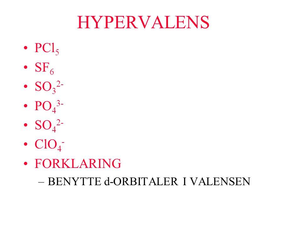 HYPERVALENS PCl 5 SF 6 SO 3 2- PO 4 3- SO 4 2- ClO 4 - FORKLARING –BENYTTE d-ORBITALER I VALENSEN