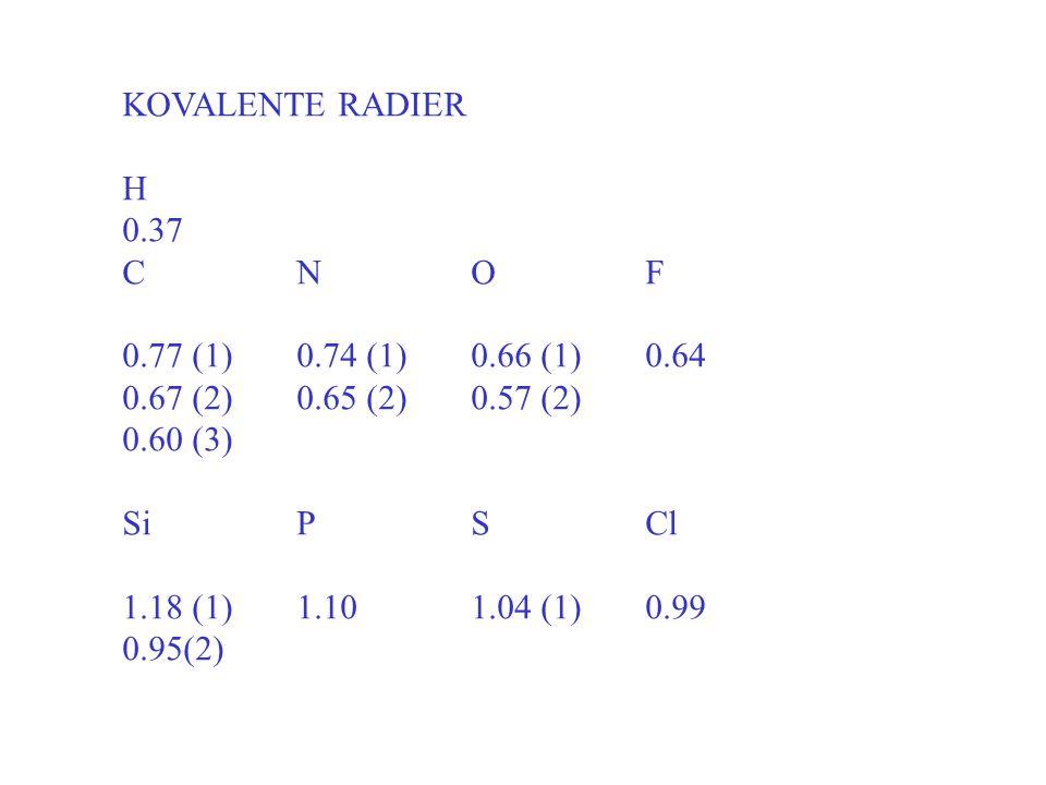 KOVALENTE RADIER H 0.37 CNOF 0.77 (1)0.74 (1)0.66 (1)0.64 0.67 (2)0.65 (2)0.57 (2) 0.60 (3) SiPSCl 1.18 (1)1.101.04 (1)0.99 0.95(2)