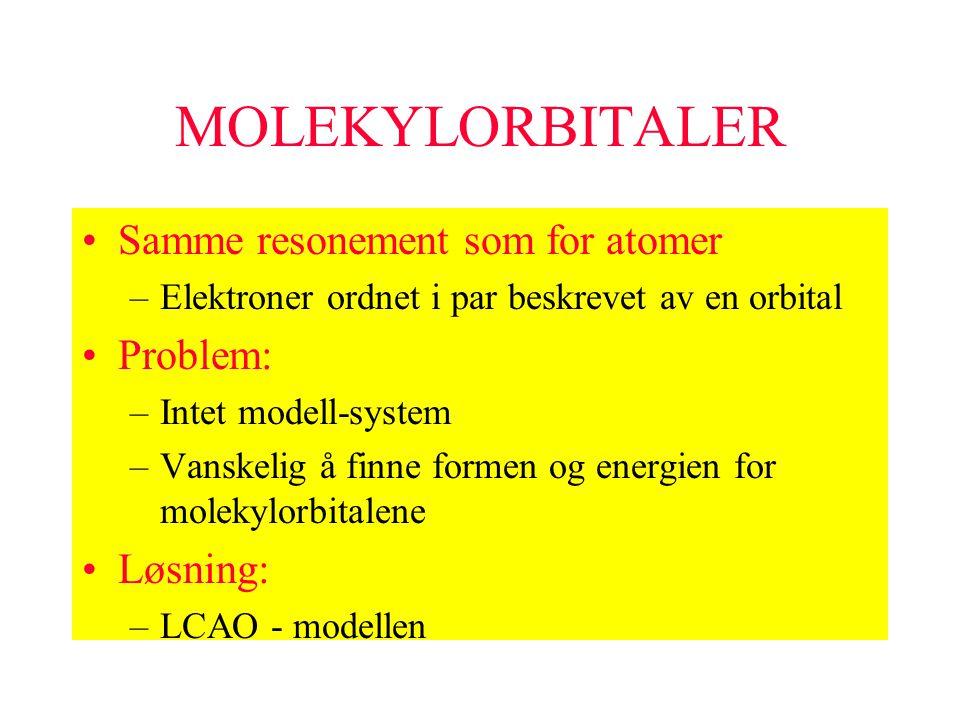 MOLEKYLORBITALER Samme resonement som for atomer –Elektroner ordnet i par beskrevet av en orbital Problem: –Intet modell-system –Vanskelig å finne for