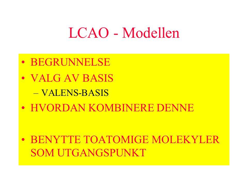 LCAO - Modellen BEGRUNNELSE VALG AV BASIS –VALENS-BASIS HVORDAN KOMBINERE DENNE BENYTTE TOATOMIGE MOLEKYLER SOM UTGANGSPUNKT