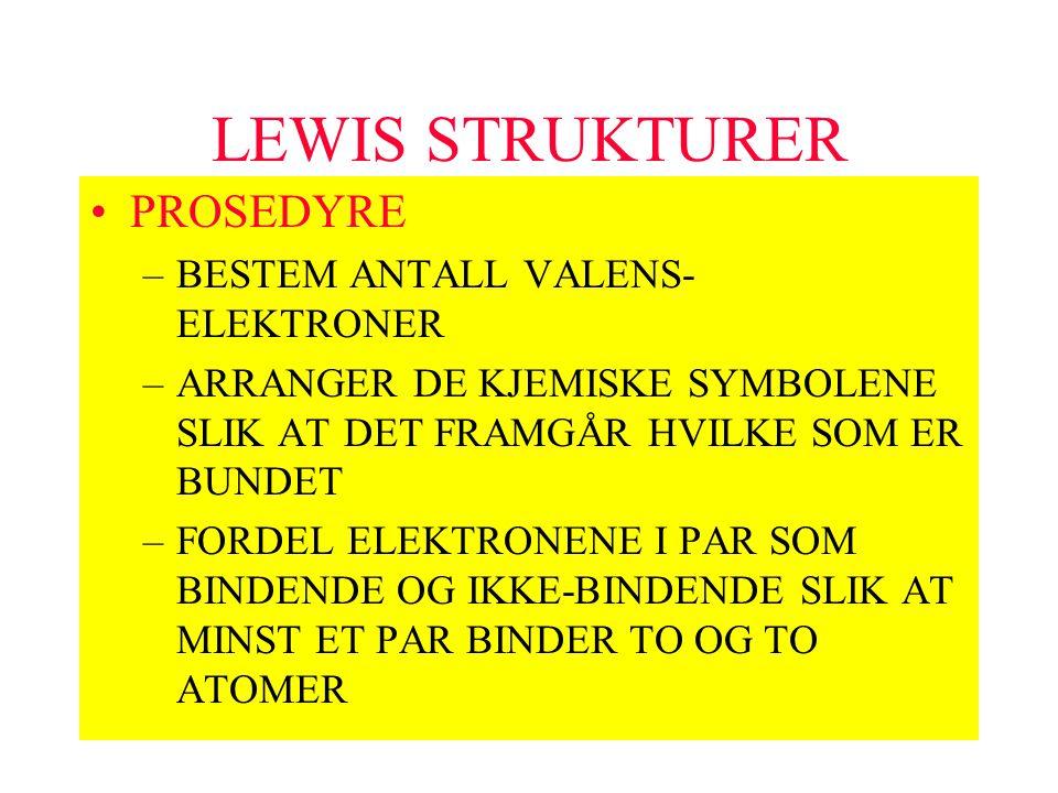 LEWIS STRUKTURER PROSEDYRE –BESTEM ANTALL VALENS- ELEKTRONER –ARRANGER DE KJEMISKE SYMBOLENE SLIK AT DET FRAMGÅR HVILKE SOM ER BUNDET –FORDEL ELEKTRON