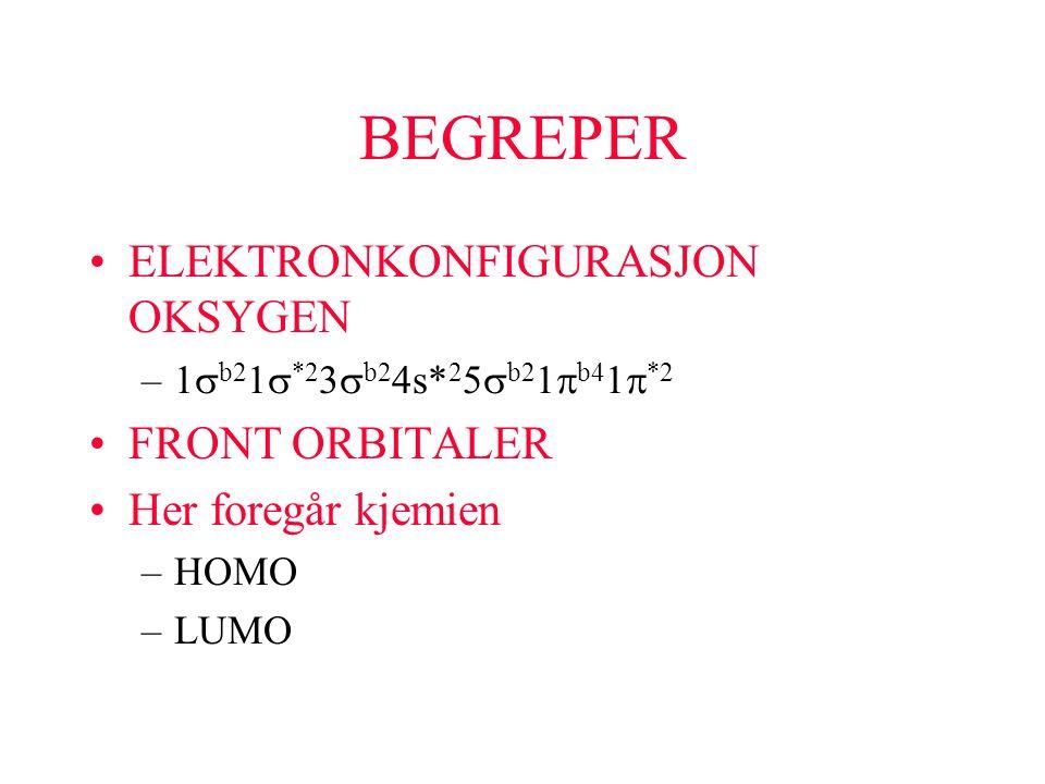 BEGREPER ELEKTRONKONFIGURASJON OKSYGEN –1  b2  *2 3  b2 4s* 2 5  b2 1  b4 1  *2 FRONT ORBITALER Her foregår kjemien –HOMO –LUMO