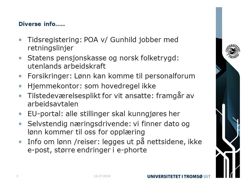 Diverse info….. Tidsregistering: POA v/ Gunhild jobber med retningslinjer Statens pensjonskasse og norsk folketrygd: utenlands arbeidskraft Forsikring