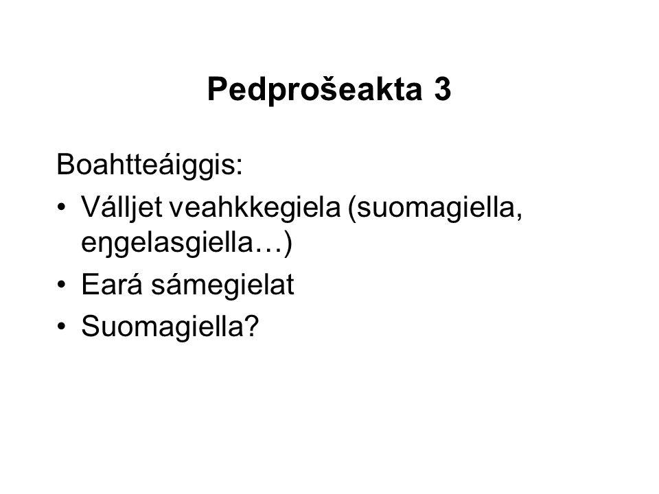 Pedprošeakta 3 Boahtteáiggis: Válljet veahkkegiela (suomagiella, eŋgelasgiella…) Eará sámegielat Suomagiella