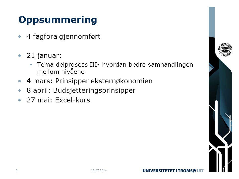 10.07.20142 Oppsummering 4 fagfora gjennomført 21 januar:  Tema delprosess III- hvordan bedre samhandlingen mellom nivåene 4 mars: Prinsipper eksternøkonomien 8 april: Budsjetteringsprinsipper 27 mai: Excel-kurs