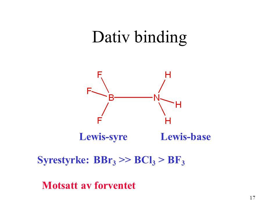 17 Dativ binding Lewis-syreLewis-base Syrestyrke: BBr 3 >> BCl 3 > BF 3 Motsatt av forventet