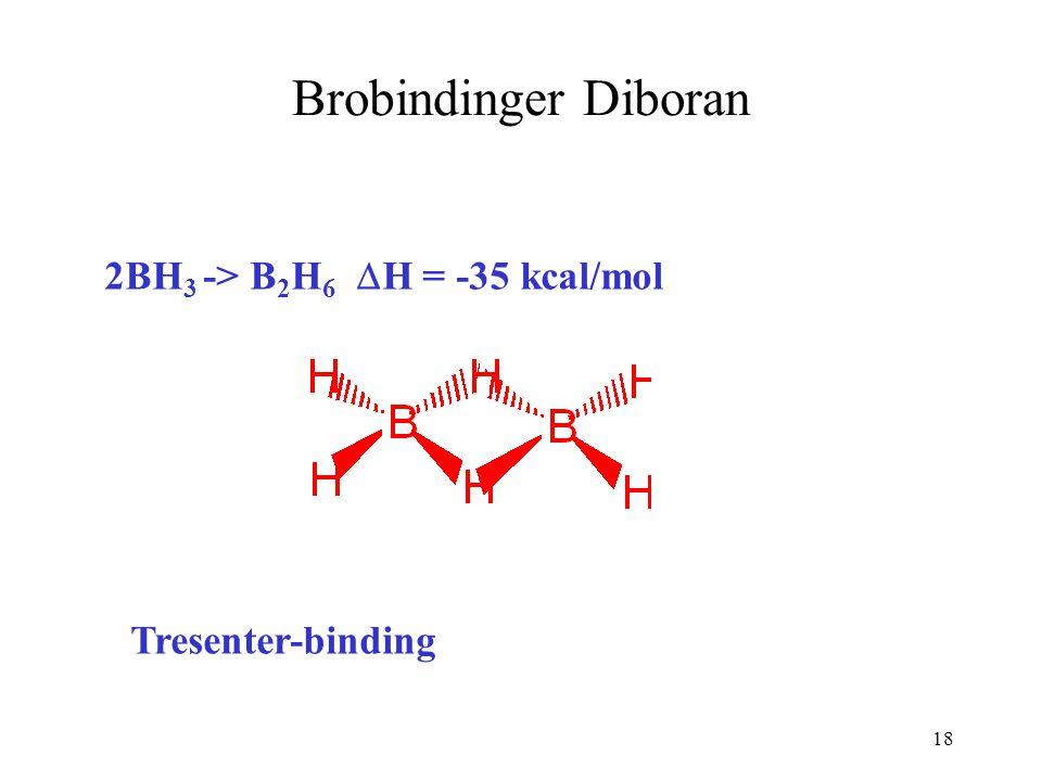 18 Brobindinger Diboran 2BH 3 -> B 2 H 6  H = -35 kcal/mol Tresenter-binding
