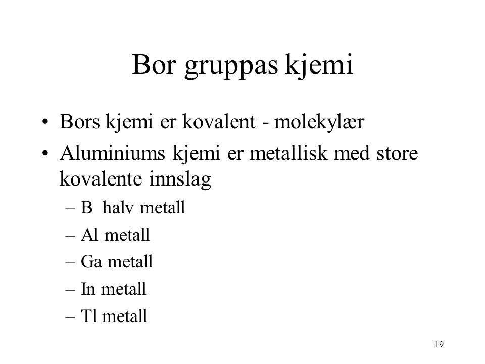 19 Bor gruppas kjemi Bors kjemi er kovalent - molekylær Aluminiums kjemi er metallisk med store kovalente innslag –B halv metall –Al metall –Ga metall –In metall –Tl metall