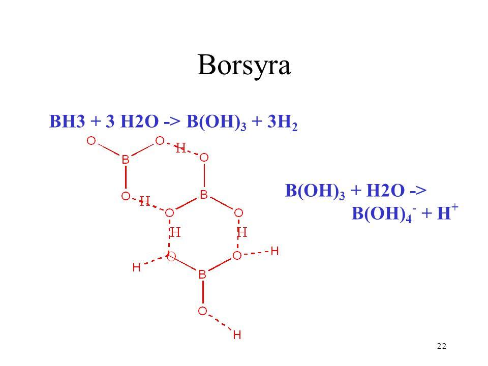 22 Borsyra BH3 + 3 H2O -> B(OH) 3 + 3H 2 B(OH) 3 + H2O -> B(OH) 4 - + H +