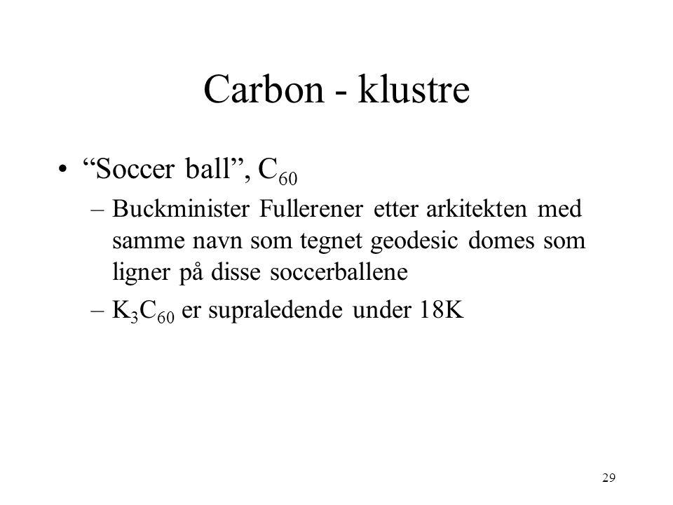 29 Carbon - klustre Soccer ball , C 60 –Buckminister Fullerener etter arkitekten med samme navn som tegnet geodesic domes som ligner på disse soccerballene –K 3 C 60 er supraledende under 18K