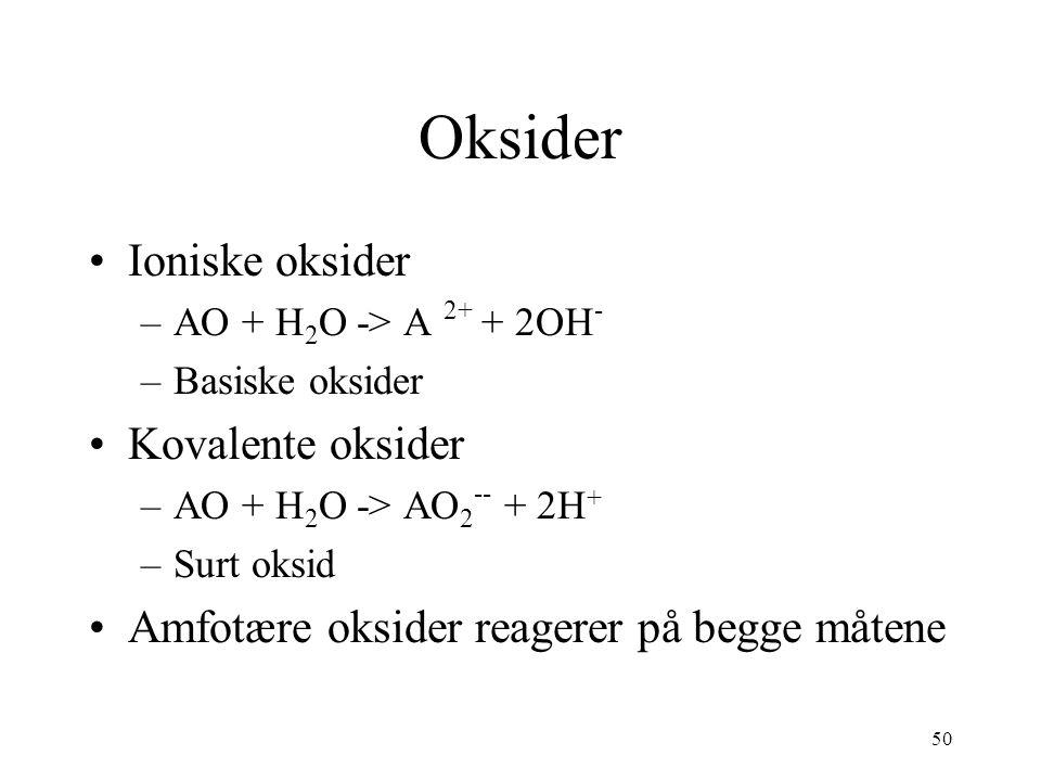 50 Oksider Ioniske oksider –AO + H 2 O -> A 2+ + 2OH - –Basiske oksider Kovalente oksider –AO + H 2 O -> AO 2 -- + 2H + –Surt oksid Amfotære oksider reagerer på begge måtene