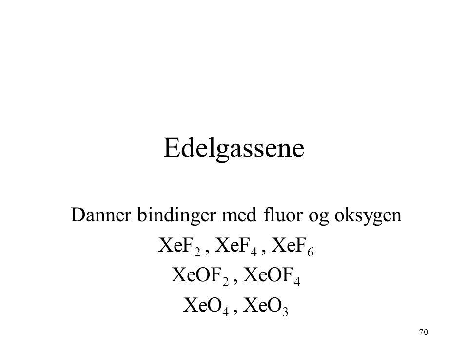 70 Edelgassene Danner bindinger med fluor og oksygen XeF 2, XeF 4, XeF 6 XeOF 2, XeOF 4 XeO 4, XeO 3