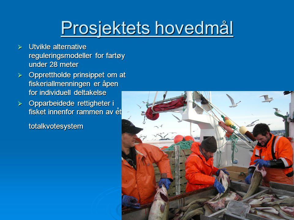 4 Prosjektets hovedmål  Utvikle alternative reguleringsmodeller for fartøy under 28 meter  Opprettholde prinsippet om at fiskeriallmenningen er åpen for individuell deltakelse  Opparbeidede rettigheter i fisket innenfor rammen av et totalkvotesystem