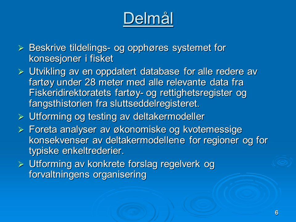 6 Delmål  Beskrive tildelings- og opphøres systemet for konsesjoner i fisket  Utvikling av en oppdatert database for alle redere av fartøy under 28