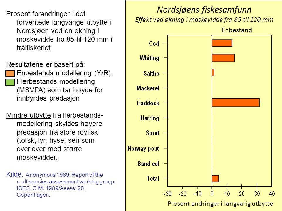 Nordsjøens fiskesamfunn Effekt ved økning i maskevidde fra 85 til 120 mm Prosent forandringer i det forventede langvarige utbytte i Nordsjøen ved en ø