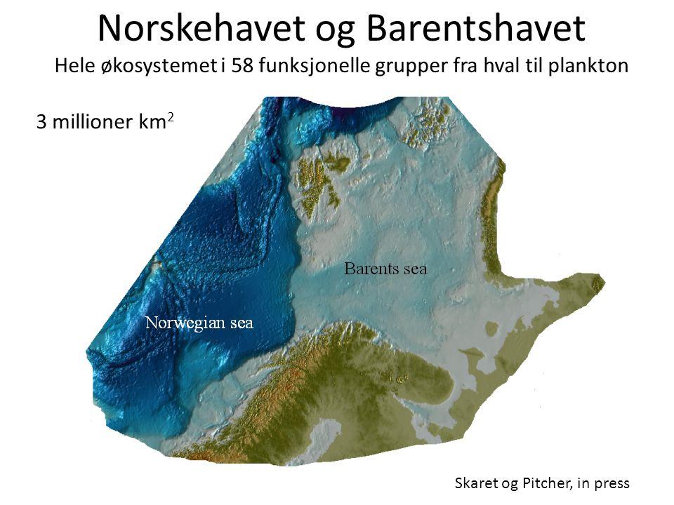Norskehavet og Barentshavet Hele økosystemet i 58 funksjonelle grupper fra hval til plankton Skaret og Pitcher, in press 3 millioner km 2