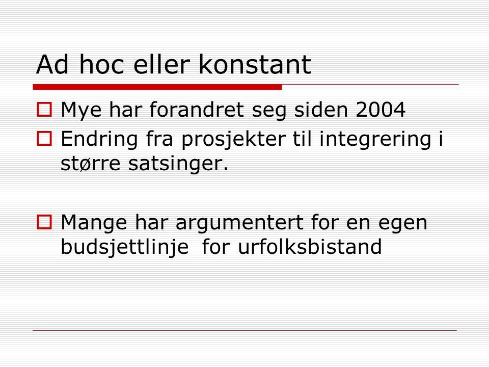 Ad hoc eller konstant  Mye har forandret seg siden 2004  Endring fra prosjekter til integrering i større satsinger.