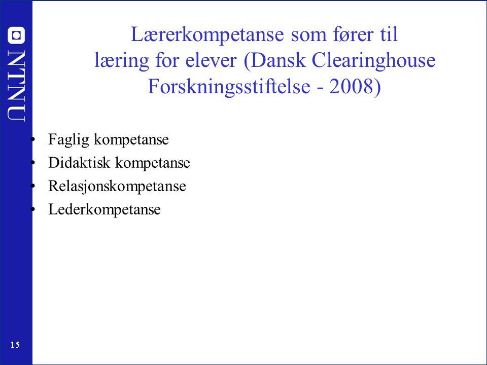 15 Lærerkompetanse som fører til læring for elever (Dansk Clearinghouse Forskningsstiftelse - 2008) Faglig kompetanse Didaktisk kompetanse Relasjonskompetanse Lederkompetanse