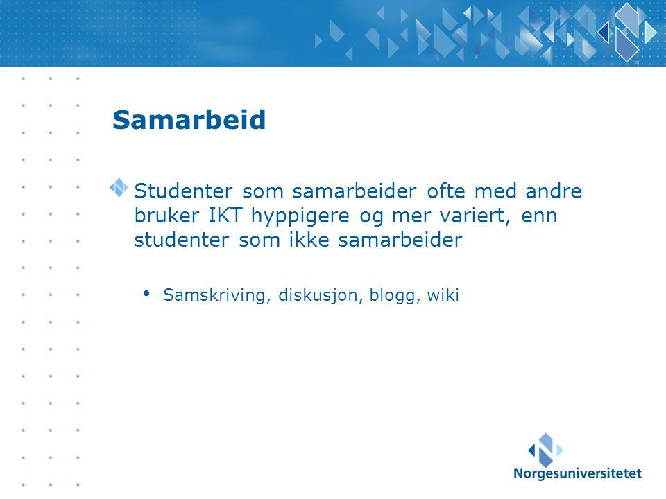 Samarbeid Studenter som samarbeider ofte med andre bruker IKT hyppigere og mer variert, enn studenter som ikke samarbeider Samskriving, diskusjon, blogg, wiki