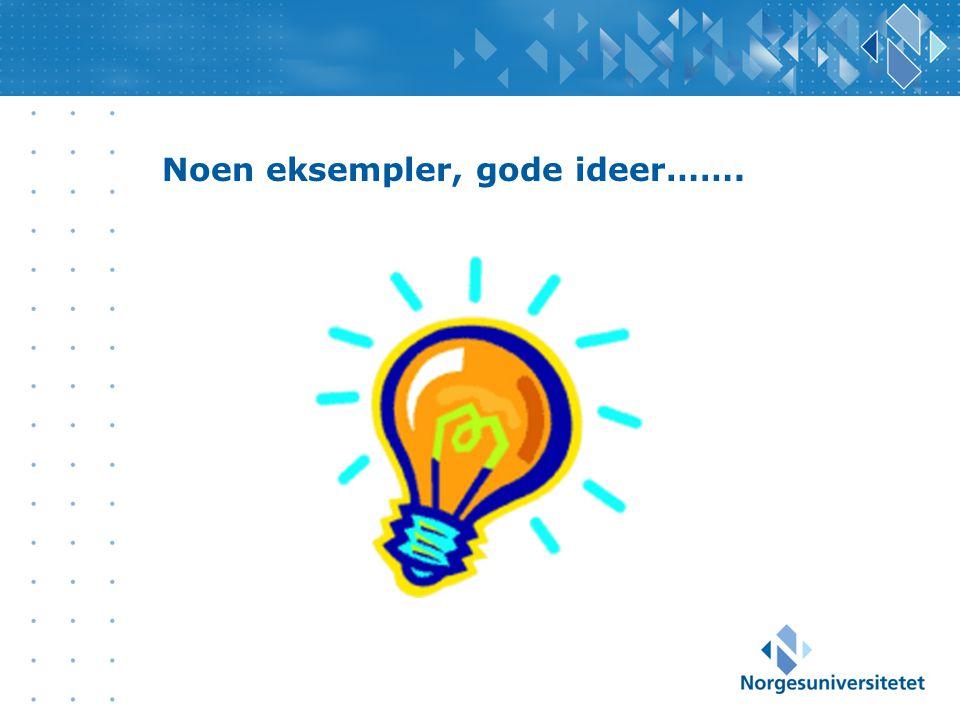 Noen eksempler, gode ideer…….