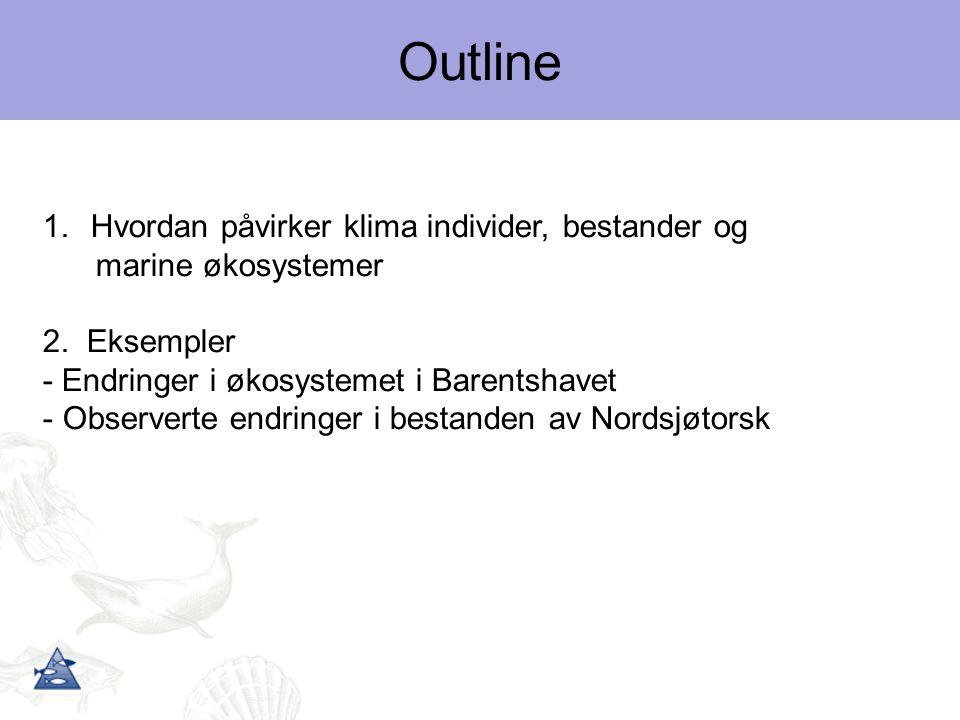 1.Hvordan påvirker klima individer, bestander og marine økosystemer 2. Eksempler - Endringer i økosystemet i Barentshavet - Observerte endringer i bes