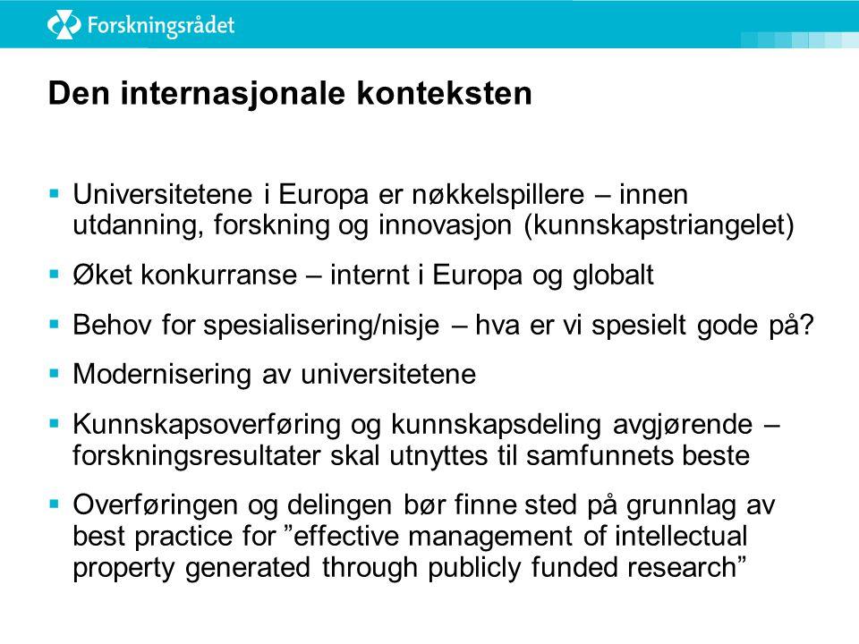 Den internasjonale konteksten  Universitetene i Europa er nøkkelspillere – innen utdanning, forskning og innovasjon (kunnskapstriangelet)  Øket konk