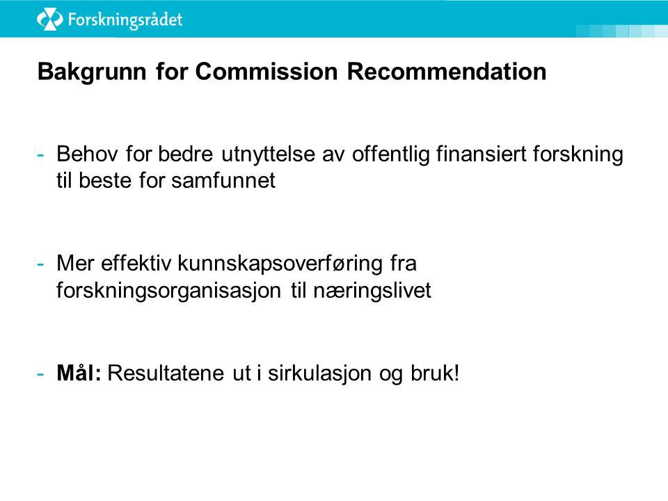 Bakgrunn for Commission Recommendation -Behov for bedre utnyttelse av offentlig finansiert forskning til beste for samfunnet -Mer effektiv kunnskapsoverføring fra forskningsorganisasjon til næringslivet -Mål: Resultatene ut i sirkulasjon og bruk!