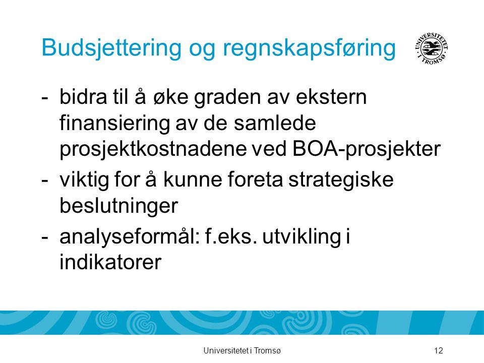 Universitetet i Tromsø12 Budsjettering og regnskapsføring -bidra til å øke graden av ekstern finansiering av de samlede prosjektkostnadene ved BOA-prosjekter -viktig for å kunne foreta strategiske beslutninger -analyseformål: f.eks.