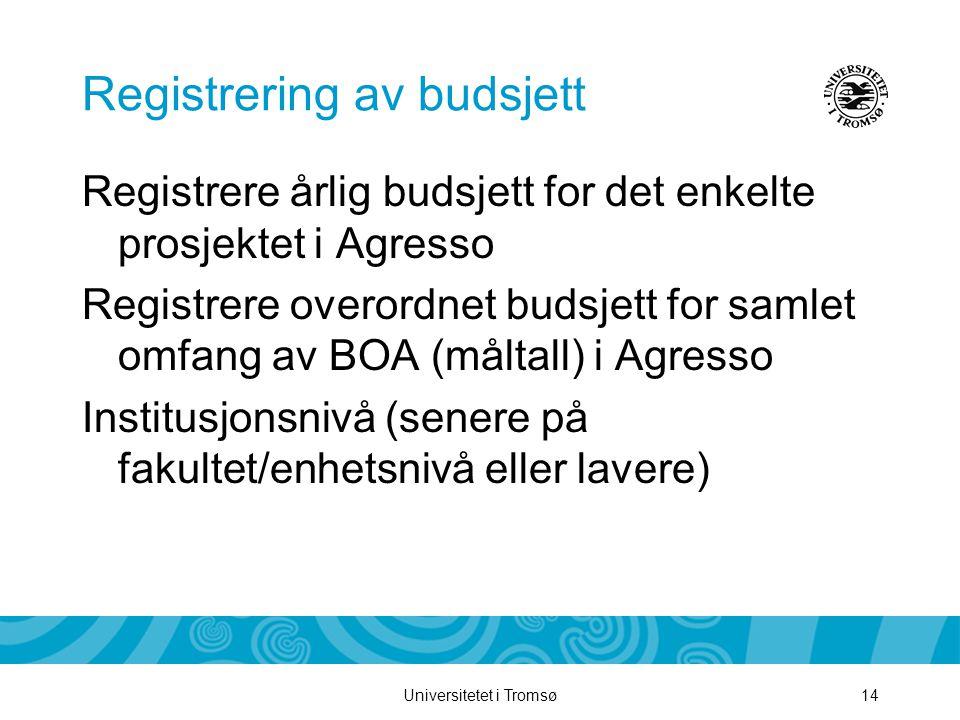 Universitetet i Tromsø14 Registrering av budsjett Registrere årlig budsjett for det enkelte prosjektet i Agresso Registrere overordnet budsjett for samlet omfang av BOA (måltall) i Agresso Institusjonsnivå (senere på fakultet/enhetsnivå eller lavere)