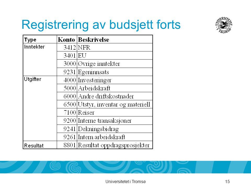 Universitetet i Tromsø15 Registrering av budsjett forts