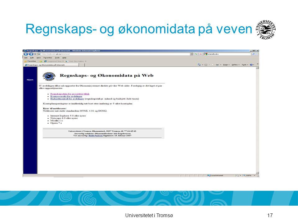 Universitetet i Tromsø17 Regnskaps- og økonomidata på veven