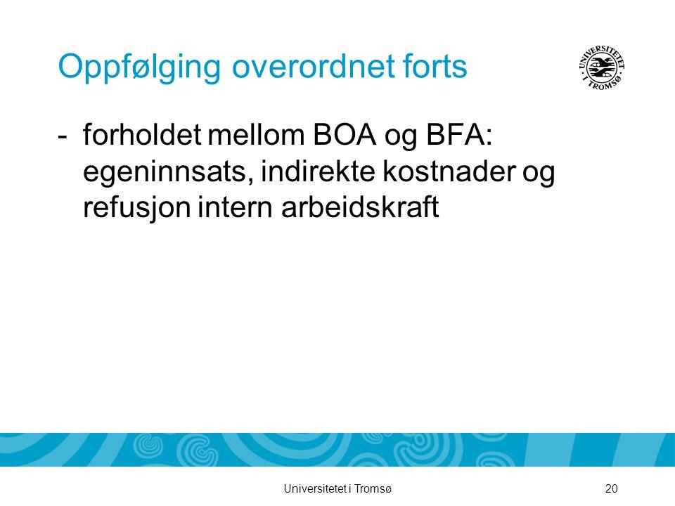 Universitetet i Tromsø20 Oppfølging overordnet forts -forholdet mellom BOA og BFA: egeninnsats, indirekte kostnader og refusjon intern arbeidskraft
