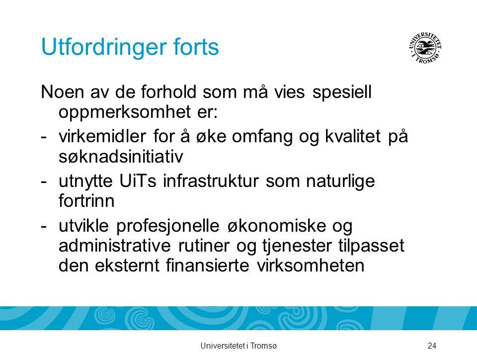 Universitetet i Tromsø24 Utfordringer forts Noen av de forhold som må vies spesiell oppmerksomhet er: -virkemidler for å øke omfang og kvalitet på søknadsinitiativ -utnytte UiTs infrastruktur som naturlige fortrinn -utvikle profesjonelle økonomiske og administrative rutiner og tjenester tilpasset den eksternt finansierte virksomheten
