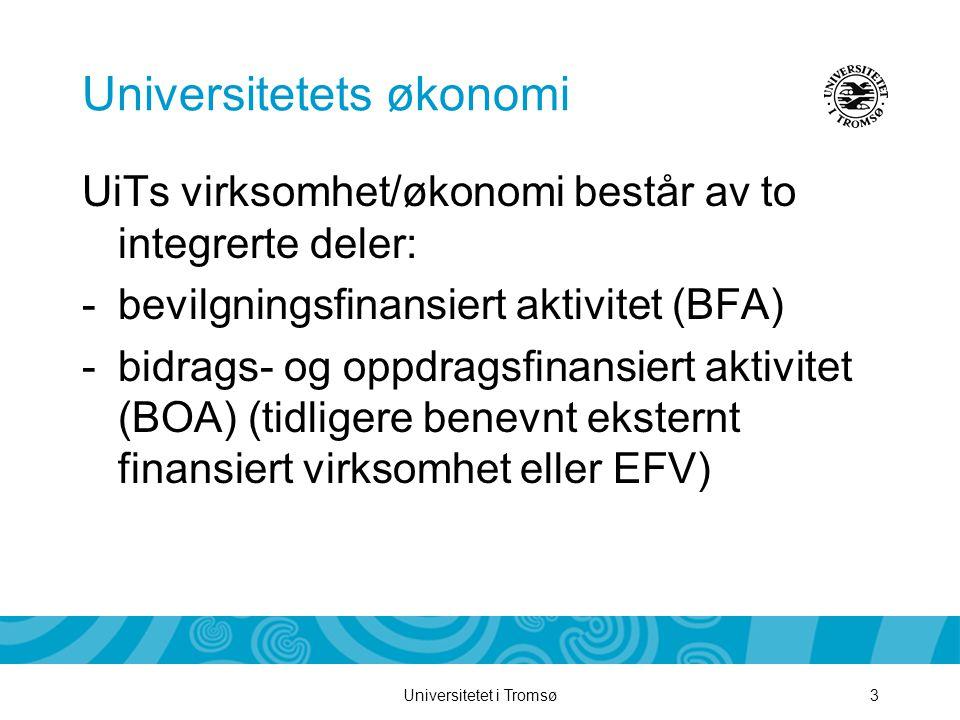 Universitetet i Tromsø3 Universitetets økonomi UiTs virksomhet/økonomi består av to integrerte deler: -bevilgningsfinansiert aktivitet (BFA) -bidrags- og oppdragsfinansiert aktivitet (BOA) (tidligere benevnt eksternt finansiert virksomhet eller EFV)