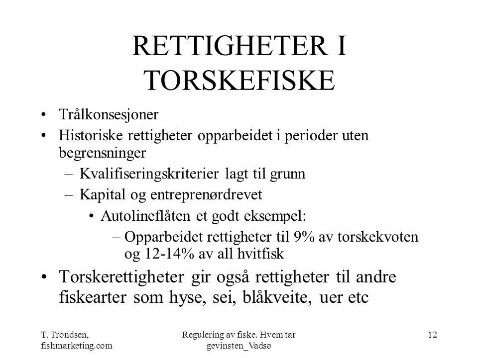 T. Trondsen, fishmarketing.com Regulering av fiske. Hvem tar gevinsten_Vadsø 12 RETTIGHETER I TORSKEFISKE Trålkonsesjoner Historiske rettigheter oppar