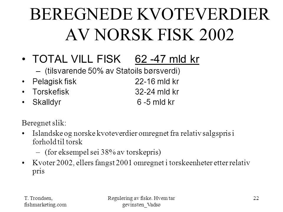 T. Trondsen, fishmarketing.com Regulering av fiske. Hvem tar gevinsten_Vadsø 22 BEREGNEDE KVOTEVERDIER AV NORSK FISK 2002 TOTAL VILL FISK 62 -47 mld k