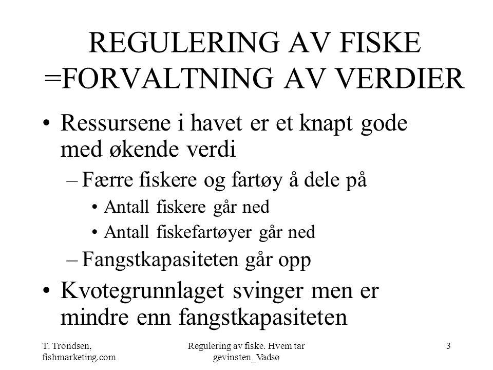 T. Trondsen, fishmarketing.com Regulering av fiske. Hvem tar gevinsten_Vadsø 3 REGULERING AV FISKE =FORVALTNING AV VERDIER Ressursene i havet er et kn