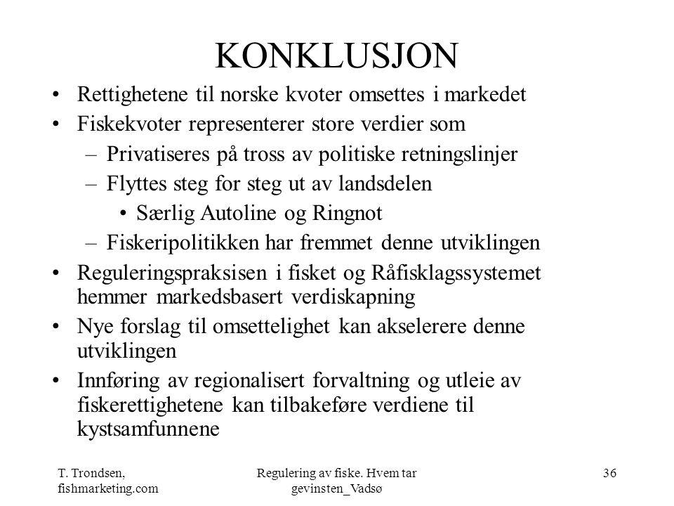 T. Trondsen, fishmarketing.com Regulering av fiske. Hvem tar gevinsten_Vadsø 36 KONKLUSJON Rettighetene til norske kvoter omsettes i markedet Fiskekvo