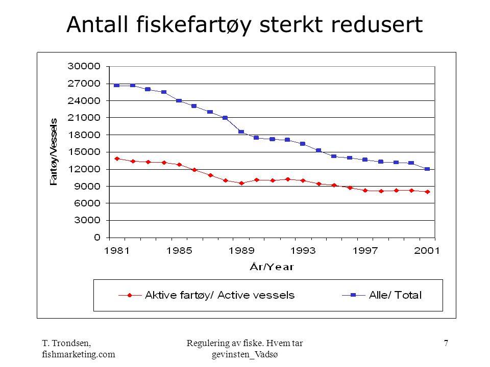 T. Trondsen, fishmarketing.com Regulering av fiske. Hvem tar gevinsten_Vadsø 7 Antall fiskefartøy sterkt redusert