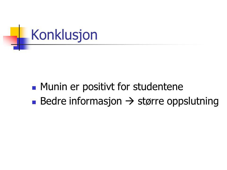 Konklusjon Munin er positivt for studentene Bedre informasjon  større oppslutning