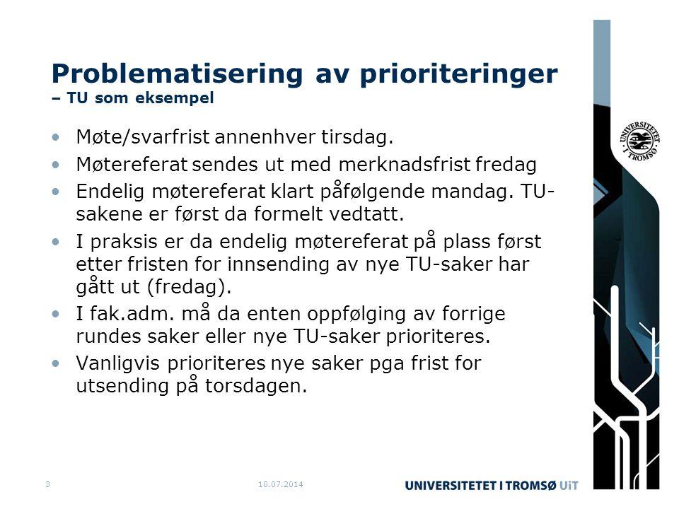 Problematisering av prioriteringer – TU som eksempel Møte/svarfrist annenhver tirsdag.