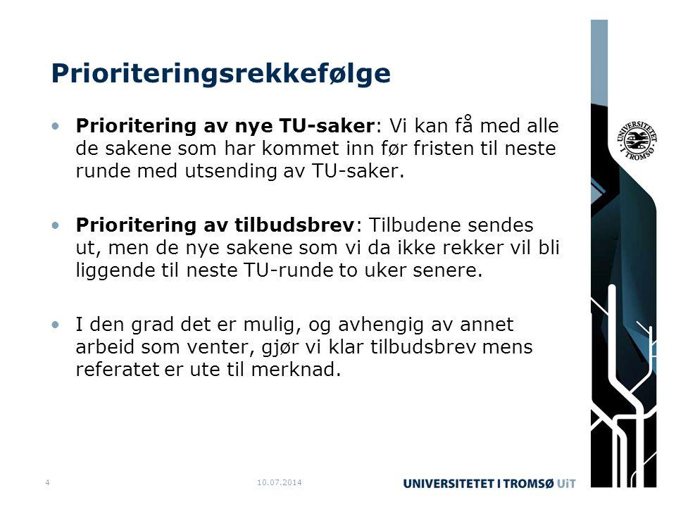 Prioriteringsrekkefølge Prioritering av nye TU-saker: Vi kan få med alle de sakene som har kommet inn før fristen til neste runde med utsending av TU-saker.