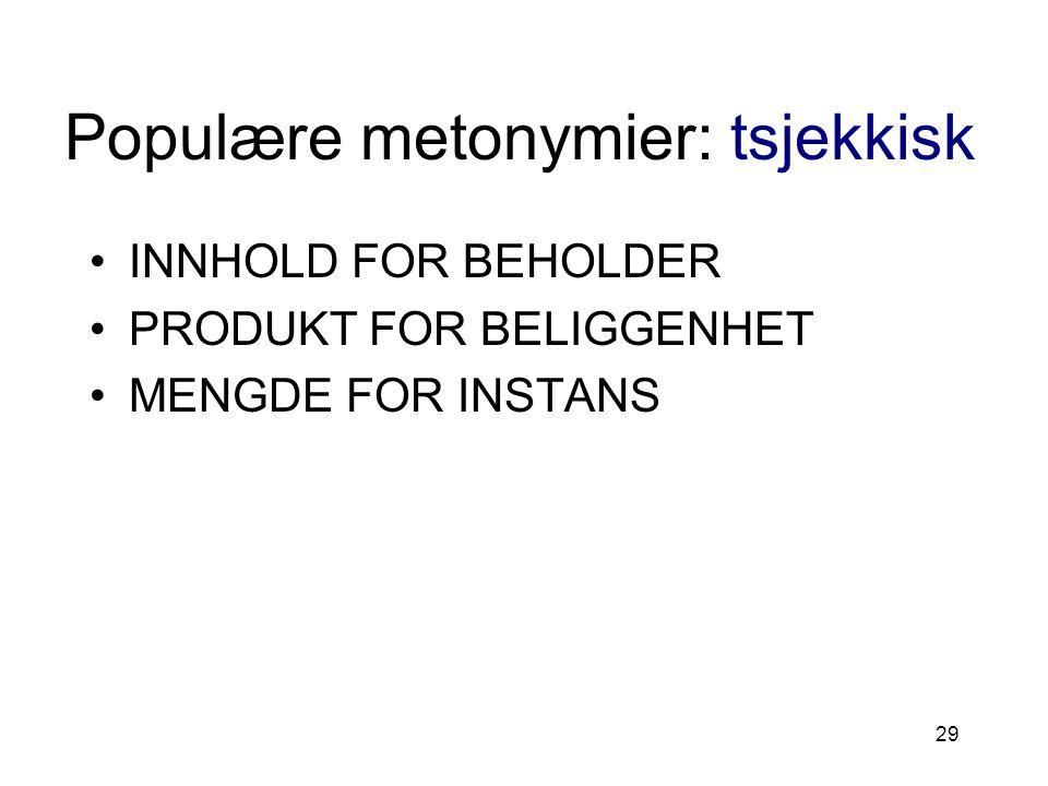 29 Populære metonymier: tsjekkisk INNHOLD FOR BEHOLDER PRODUKT FOR BELIGGENHET MENGDE FOR INSTANS