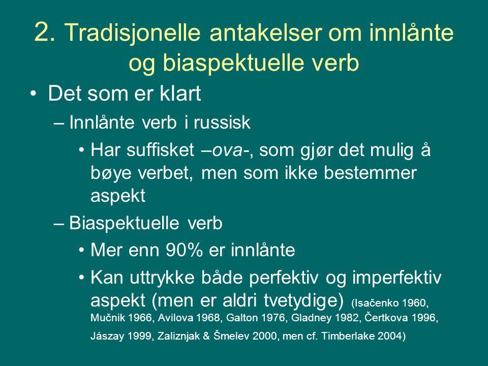 2. Tradisjonelle antakelser om innlånte og biaspektuelle verb Det som er klart –Innlånte verb i russisk Har suffisket –ova-, som gjør det mulig å bøye