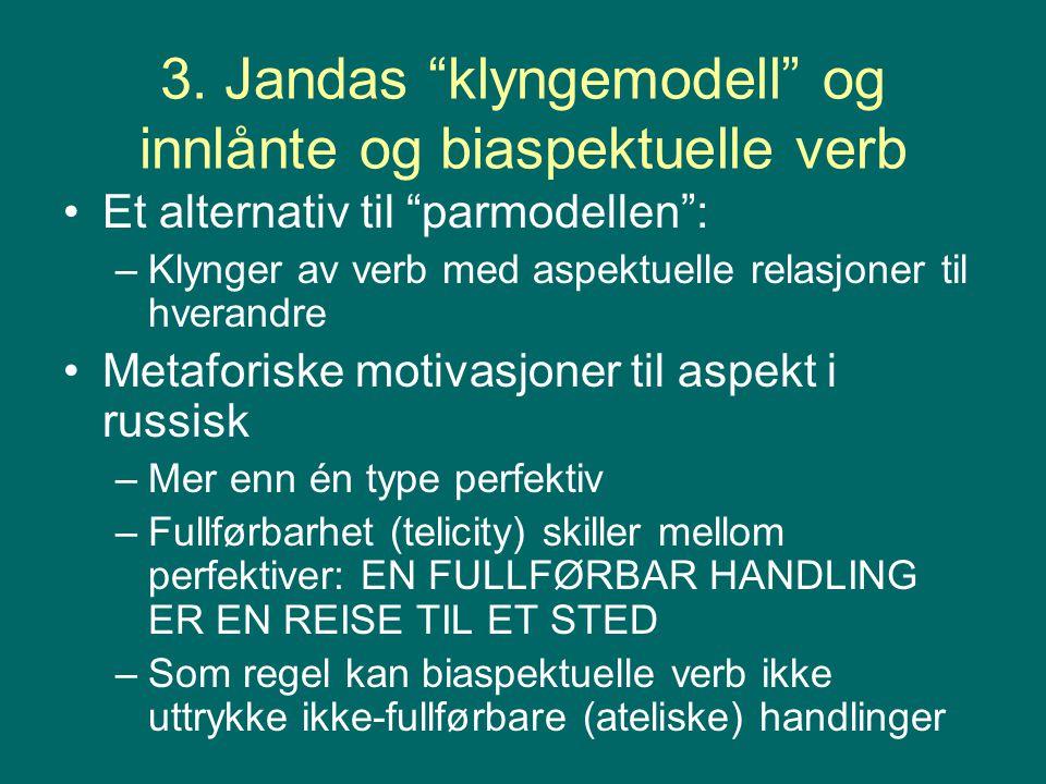 """3. Jandas """"klyngemodell"""" og innlånte og biaspektuelle verb Et alternativ til """"parmodellen"""": –Klynger av verb med aspektuelle relasjoner til hverandre"""