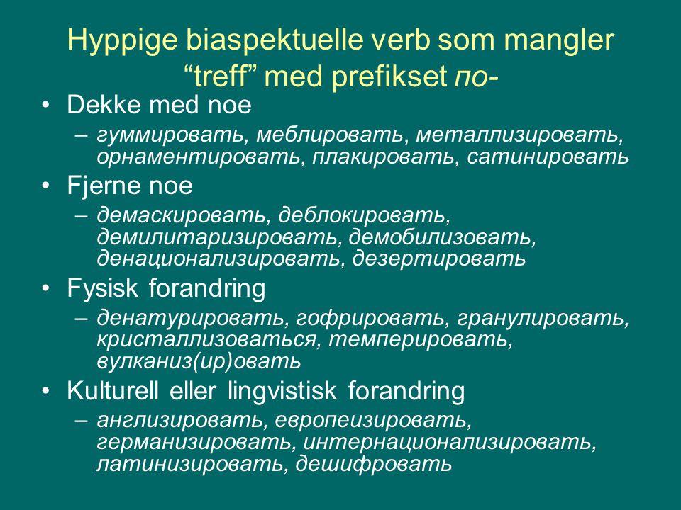 """Hyppige biaspektuelle verb som mangler """"treff"""" med prefikset по- Dekke med noe –гуммировать, меблировать, металлизировать, орнаментировать, плакироват"""