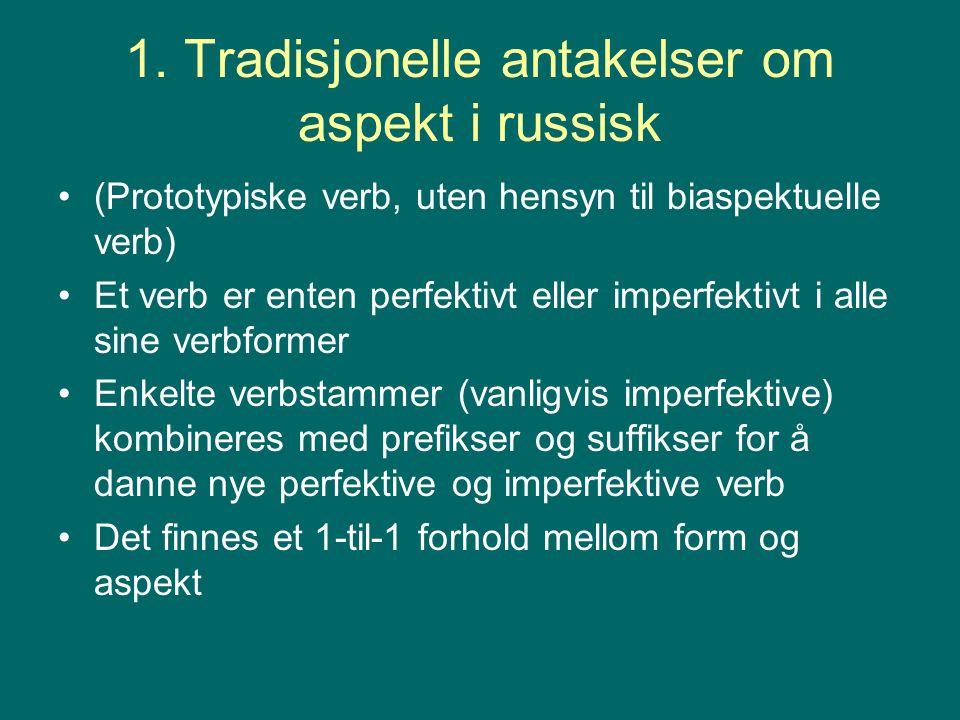 1. Tradisjonelle antakelser om aspekt i russisk (Prototypiske verb, uten hensyn til biaspektuelle verb) Et verb er enten perfektivt eller imperfektivt